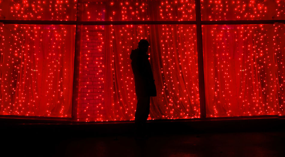 Garland Lights Nightphotography Red Silhouette Xmas Curtain Day Indoors  Night One Man Only One Person Red Sexygirl Silhouette Sillouette Stage - Performance Space Window