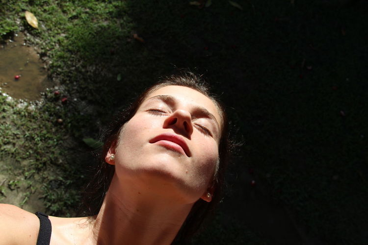 Breath Calm Façade Light Me Meditation Relaxing Woman Beauty In Nature Contrast Myself Pause Solitude Sun Thoughts Woman Portrait Inner Power This Is My Skin