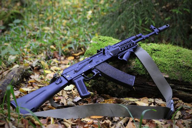 Ak74 Assault Rifles Grass Gun Kalashnikov Military No People Saiga War Weapon