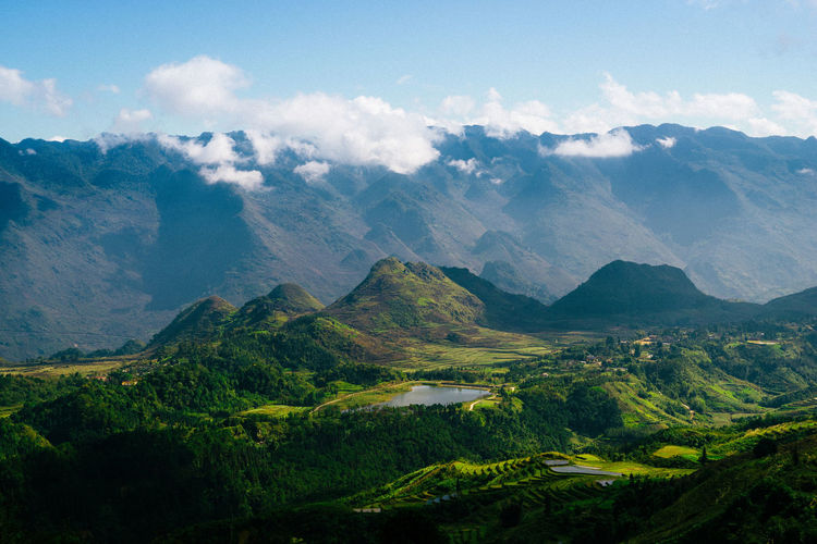 Great mountain view in Ha Giang, Viet Nam. Beauty In Nature Cloud Day Green Hà Giang Landscape Mountain Mountain Peak Mountain Range Nature No People Outdoors Sky Tree Viet Nam