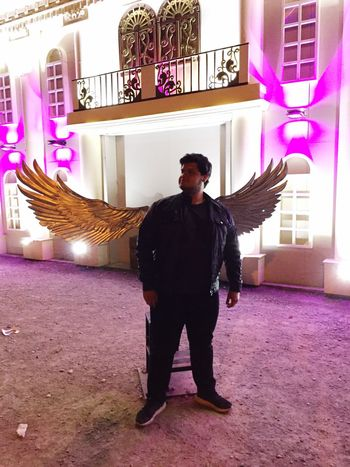 Ángel o Demonio.... One Person Lifestyles Real People Standing Men Young Adult One Man Only People Night Alas Angel Demonio Outdoors
