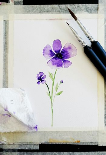 Violet Violet Flowers Violet Color Violet Watercolour Watercolourpainting Aquarelle Spring Flower Indoors  No People Paper Multi Colored Close-up Fragility Day Ink Flower Head