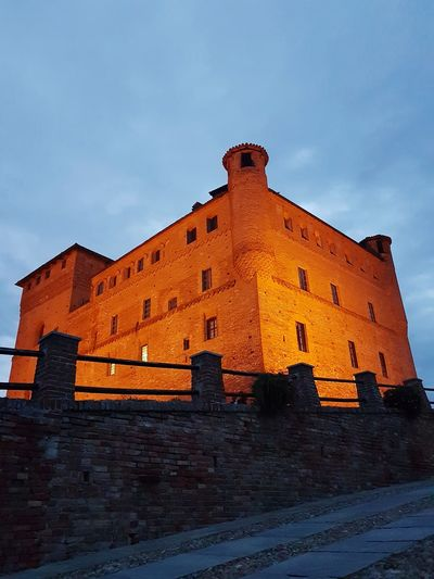 Architecture History Travel Destinations No People Built Structure AncientCastle Low Angle View Building Exterior Outdoors Day Sunset Sky Ancient Civilization Travel Destination At Night Italian Castle Langhe Piedmont Italy Night View Low Angle View
