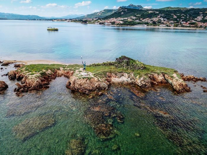 small island in Cannigione, Sardegnia Life Is A Beach EyeEm Gallery Aerial View Landscape Traveling Landscape_Collection Landscapes Nature Beauty In Nature Naturelovers Nature_collection Nature Photography EyeEm Nature Lover Eye4photography  DJI Mavic Pro Drone  Dji Dronephotography Droneshot EyeEm Best Shots Sardegna Island Sea Beach Nautical Vessel Sky Bay Coast Horizon Over Water Seascape