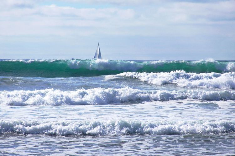 Sea Water Wave Motion Beauty In Nature Scenics - Nature Waterfront Horizon Over Water Aquatic Sport Outdoors Power In Nature Sailboat No People Horizon Nature Shoreline Surf