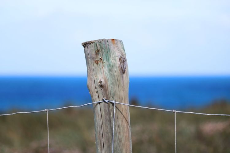 Wooden post in sea against sky