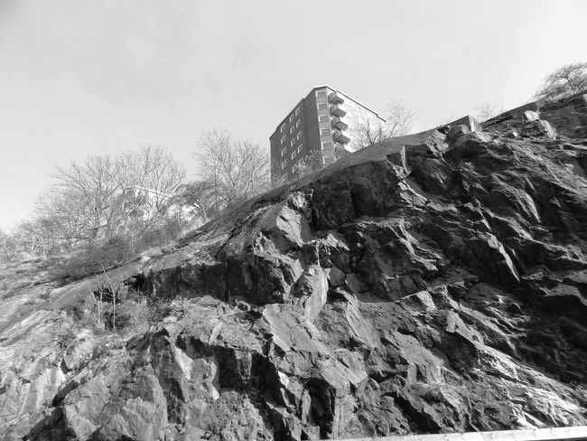 City of Stockholm Architecture Black And White Black And White Collection  Black And White Photography Blackandwhite Blackandwhite Photography Built Structure Day Deterioration Landscape Low Angle View Mountain Nature No People Non-urban Scene Outdoors Rock Formation Run-down Sky Stockholm, Sweden Tranquil Scene Tranquility
