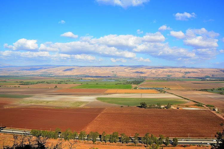 Hula Valley Observation Point Aerial View Agriculture Beauty In Nature Cloud - Sky Day Field High Angle View Landscape Nature Observation From Naftali Mountains Toward Hula Valley And Golan Mountains Patchwork Landscape Scenics Sky Tranquil Scene Tranquility Perspectives On Nature