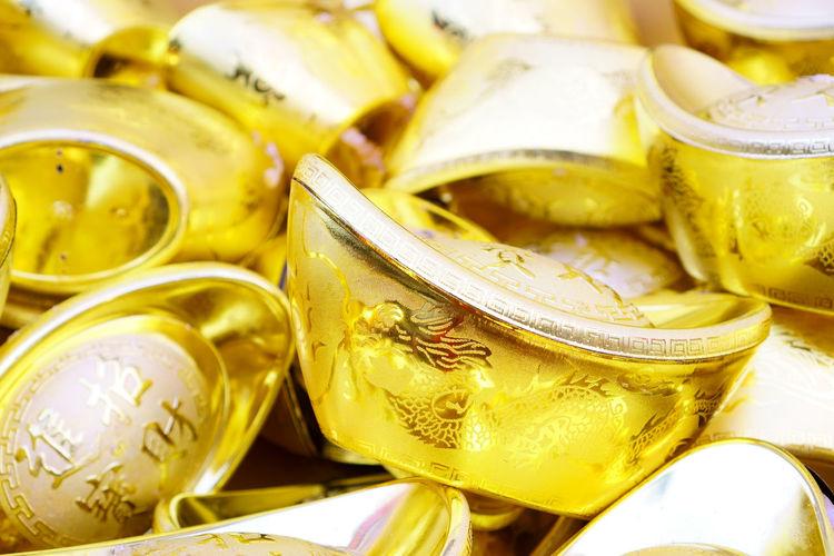Full frame shot of golden decoration
