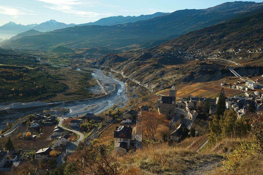 Schweiz Switzerland Wallis Tal Valley Leuk Leuk-Stadt Herbst Herbststimmung Beauty In Nature Countryside The Magic Mission