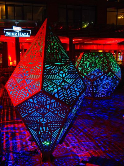 Geometric Light Display Geometric Shapes Green Light Festival Toronto Canada Art Of Light Artistic Expression Artistic Vision Blue Bold Colours Celebration Distillery District Illuminated Light Display Multi Colored Night No People Red Sculptures Street Art Visual Expression