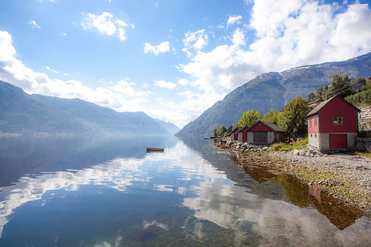 Cloud - Sky Water Mountain Architecture Built Structure Sky Scenics - Nature Building Beauty In Nature Building Exterior Reflection Day Nature House Tranquility Tranquil Scene No People Mountain Range Lake Outdoors Norway EyeEmNewHere