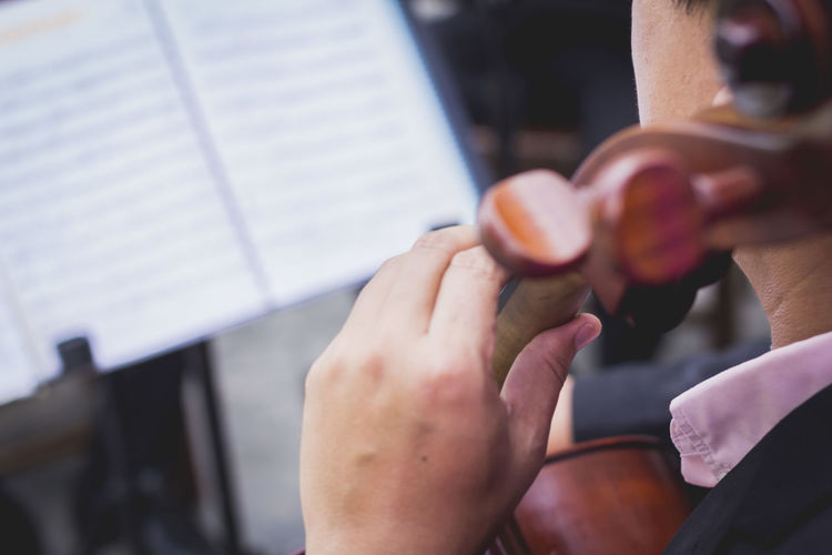 Cropped image of man playing musical instrument