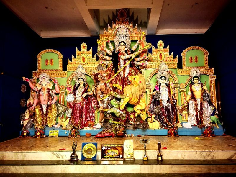 Durgapuja Bengal Bengali Culture India West Bengal Art Pandal Durga Basirhat King - Royal Person Multi Colored Painted Image Close-up Statue Idol Golden Color Carving - Craft Product Place Of Worship Female Likeness Male Likeness Human Representation