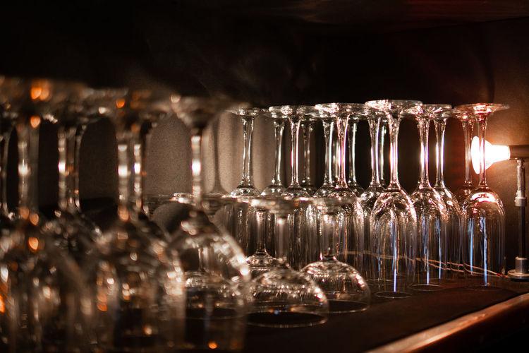 Wine glass bottles on table