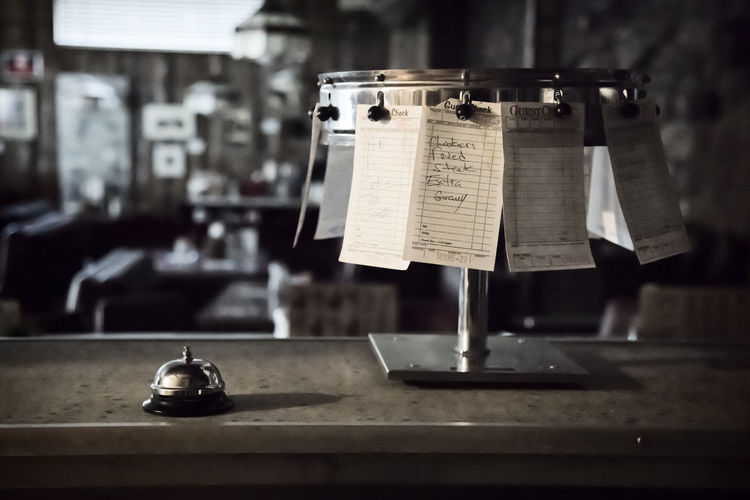 Cooks Perspective 50s Diner Bell Nikon D810 ORDER UP Tickets Waiting To Be Fed Dark And Moody Diner Food Order Nostalgia Restaurant Ticket
