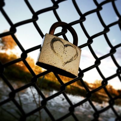 Backgrounds Blurred Background Chainlink Fence Close-up Day Focus On Foreground Full Frame Heart Locket Locket_of_love Love Metal Metallic No People Outdoors Protection Safety Security Selective Focus Sky