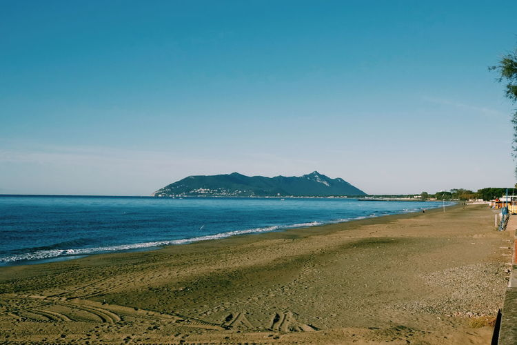 Circeo Beach Beauty In Nature Blue Clear Sky Day Horizon Over Water Mountain Nature No People Outdoors Sand Scenics Sea Sky Tranquil Scene Tranquility Vacations Water Wave