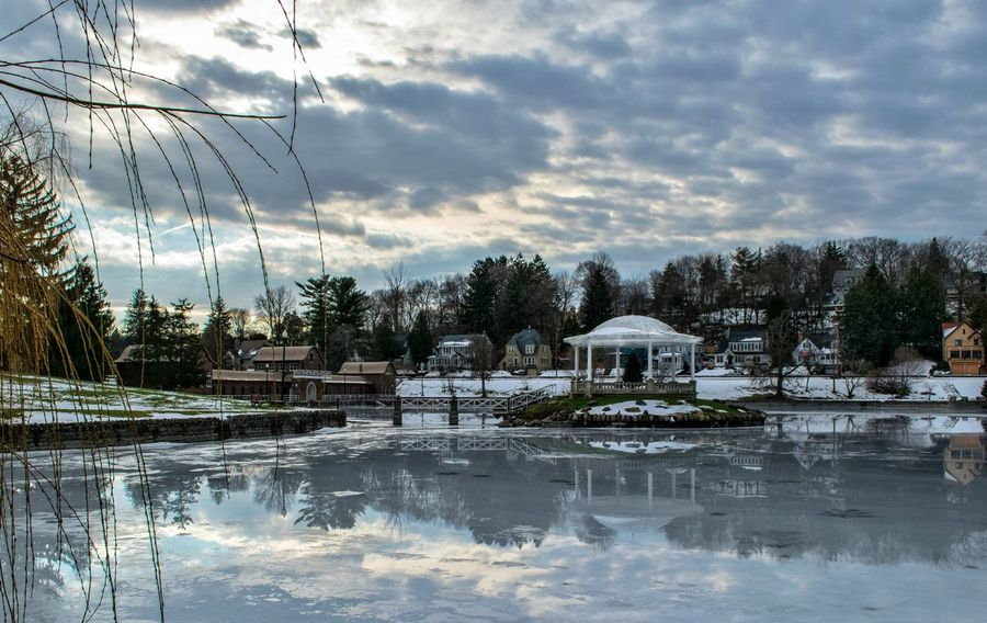 Sky Cloud - Sky Reflection Water No People Outdoors Extreme Weather Syracuse Ny Dreaming Serene Cold Lake Winter Park Gazebo Architecture Reflection