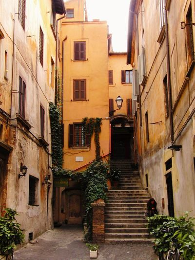 Architecture Building Exterior Courtyard House Girl Thinking Ocra Peace And Quiet Residential Building Rome, Italy Steps And Staircases View From Above