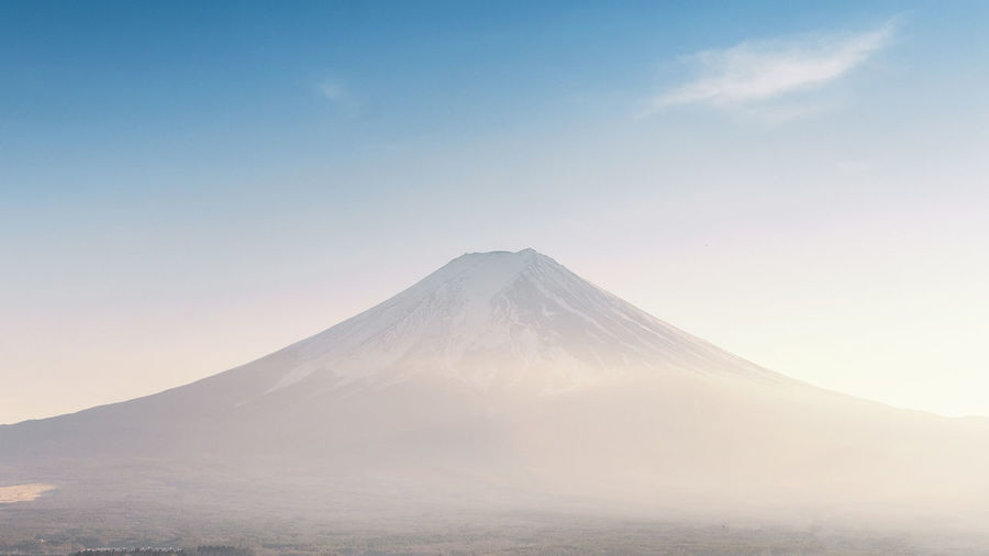 Mountain Sky Scenics - Nature Tranquil Scene Beauty In Nature Volcano Landscape Tranquility Environment Mountain Peak Nature No People Travel Destinations Idyllic Travel Non-urban Scene Winter Day Snowcapped Mountain Volcanic Crater Fuji Mountain Fuji