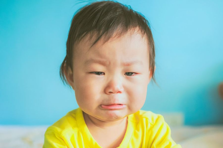 The crying baby Childhood One Person Headshot Front View Close-up Real People Yellow Human Face Indoors  Portrait Day People EyeEm Selects China Children Portrait Children Childhood Memories Babygirl Weep Blue Crying Asian  Chinese Girl