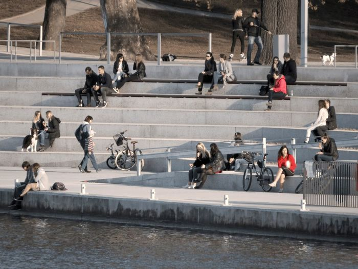 Color Accents Steps Large Group Of People Leisure Time Lifestyles Outdoors People And Places Real Life River Bank  Waterfront