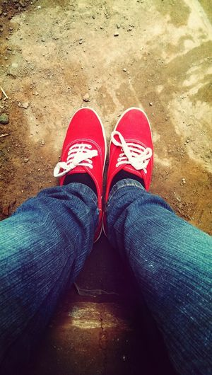 If i try my best and fail at least I have tried ..... Red&blue Jeans Plimsolls Streets outandabout