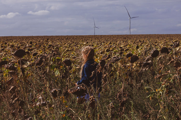 Child girl in sunflowers. scenic view of field against sky.wind turbines background eco green energy