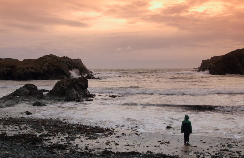 Rear view of person standing on shore at porth dafarch against cloudy sky