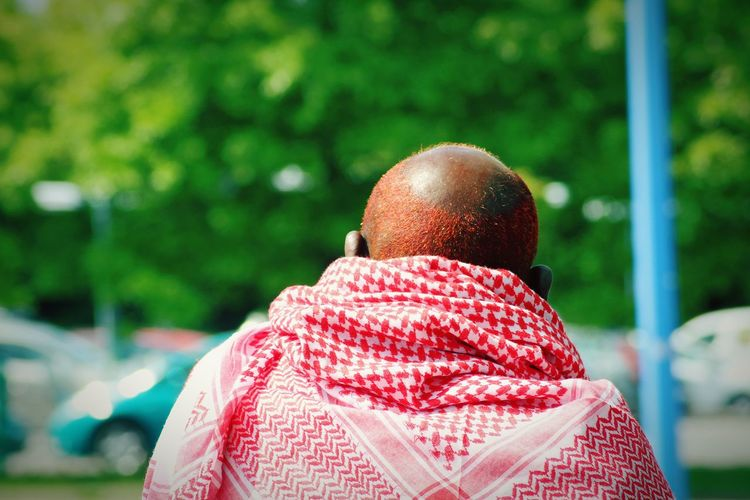 Reds Red Scarf African Man Real People Sweden Summertime Men City Headshot Rear View Shaved Head Close-up