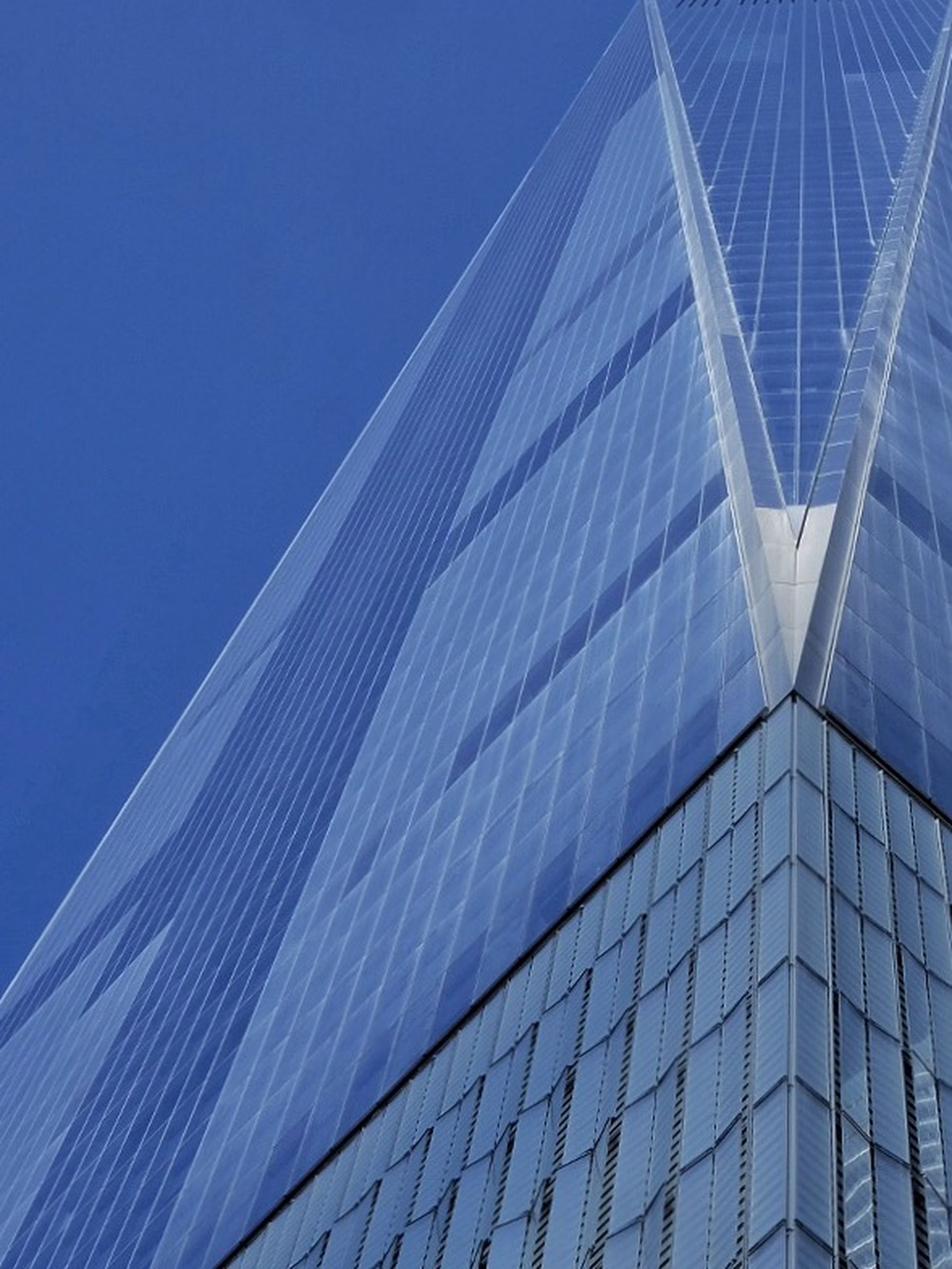 architecture, low angle view, built structure, building exterior, modern, blue, office building, skyscraper, city, clear sky, glass - material, tall - high, reflection, building, tower, sky, day, outdoors, pattern, no people