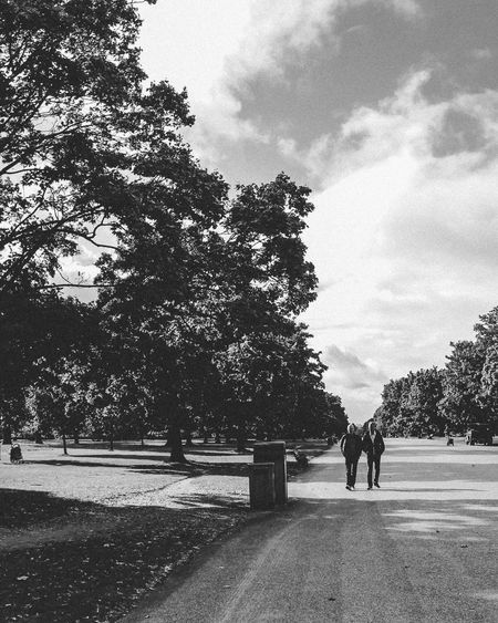 People walking on footpath by trees against sky
