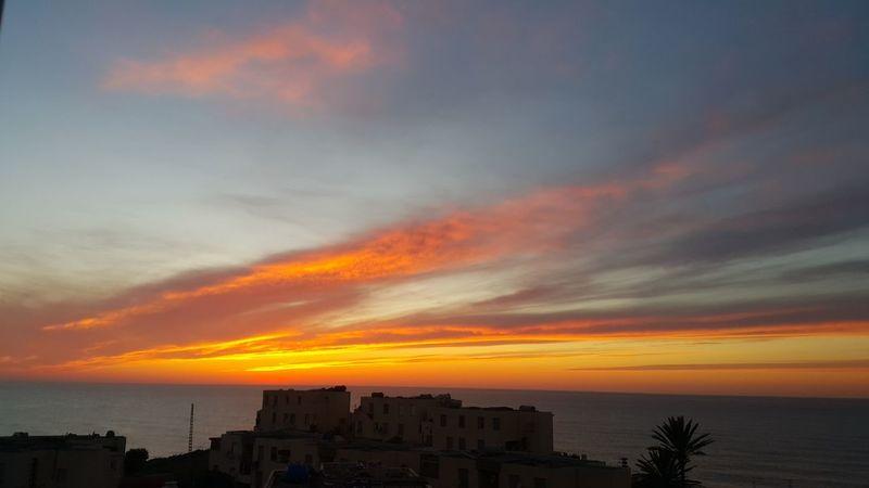 tenes 360 Cityscape City Urban Skyline Sunset Sea Silhouette Horizon Beach Red Multi Colored