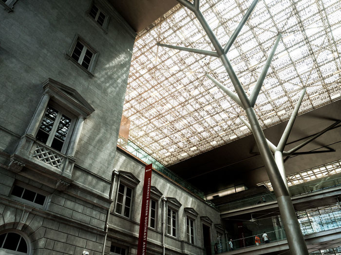 Architectural Feature Architecture Building Built Structure City City Life Colonial Architecture Desaturated Design Dutch Angle Indoors  Light Light And Shadow Look Up Low Angle View Modern Museum National Gallery  National Gallery Singapore Old And New Old Buildings Singapore Skylight Skylight