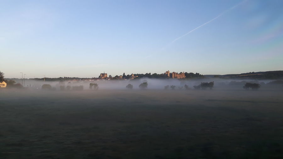 Scenic view of misty misty landscape