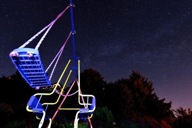 Kinderschaukel unter der Milchstrasse Nightphotography Milkyway Stars Playground Night View Starry Sky Under The Milky Way