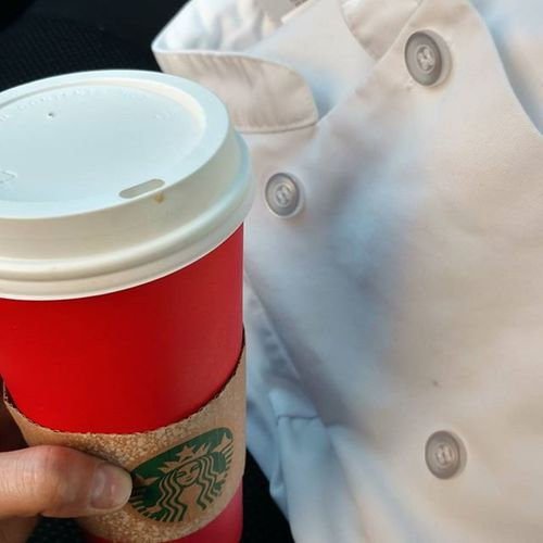 Got a chestnut praline latte from Starbucks before work. Got my new chef coat and looking all nice for tonight's event in honor of Jacques Pépin. Redcupcontest Starbucks