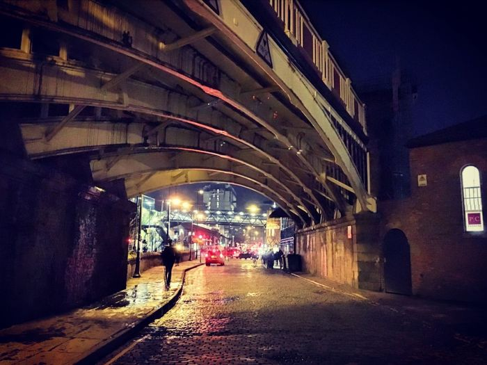 Manchester Under Bridge Bridge - Man Made Structure Europe Winter Shadows & Lights Shadow People Like A Painting Urban Urban Skyline Cityscape City Nightphotography Night Architecture Built Structure Illuminated Bridge - Man Made Structure The Way Forward Shades Of Winter Building Exterior No People Outdoors Sky City Shades Of Winter