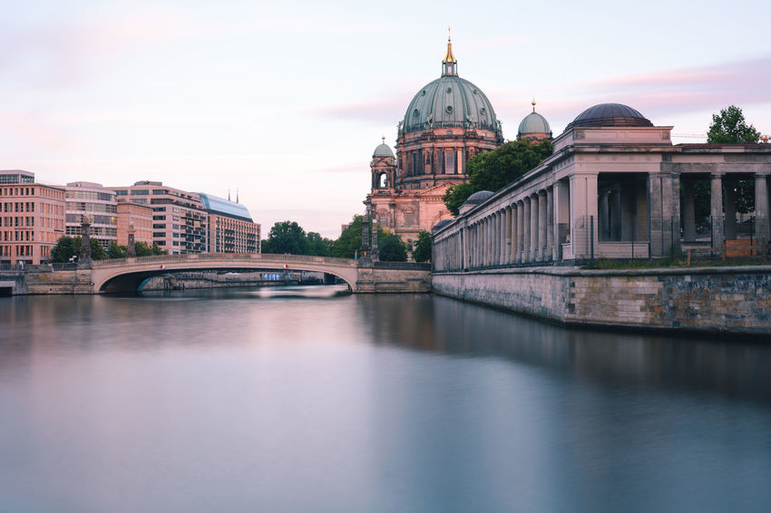 Berlin Cathedral at sunset Berlin Berlin Cathedral Berlin Mitte Berliner Dom Copy Space Spree River Berlin Arch Bridge Architecture Belief Bridge Bridge - Man Made Structure Building Building Exterior Built Structure City Connection Dome Government Museum Island Berlin No People Outdoors Place Of Worship Reflection Religion River Sky Spirituality Summer In Berlin Sunset In Berlin Travel Travel Destination Travel Destinations Water Waterfront
