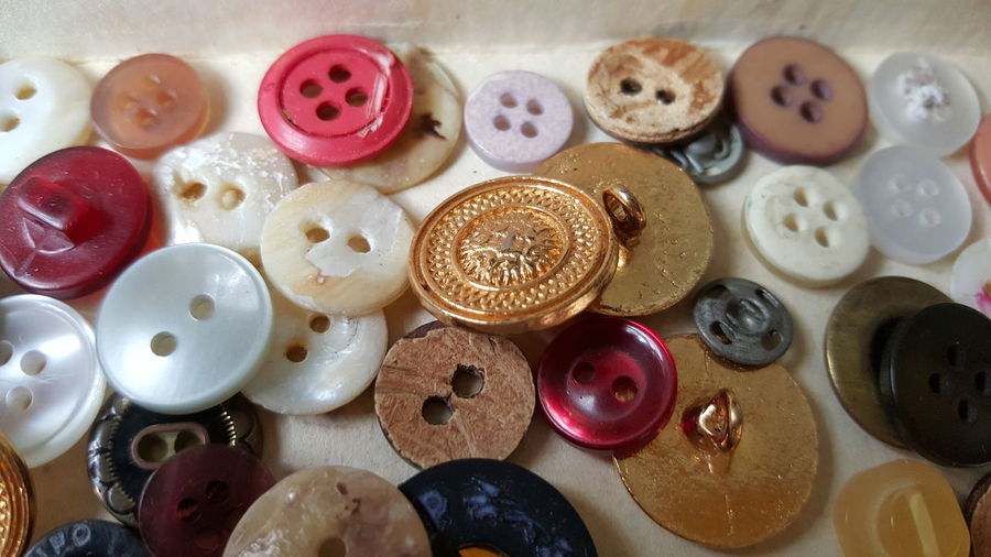 The box full of buttons of my grandmother, reminds me of her Photographic Memory Buttons Button Buttons And Buttons Colorful Sewing Kit Buttonbox Golden Button Collection Button Collection Button_collection