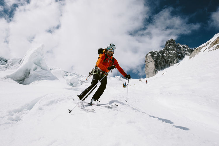 Adventure Alps Bold Brave New World Cold Temperature Extreme Sports French Alps Glacier Landscape Leisure Activity Lifestyles Mountain Nature Ski Ski Touring Skiing Snow Touring Ski Vacations Weather Winter Winter Sport