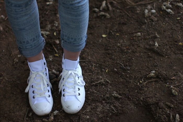 Brown Soil Canvas Shoe Canvas Shoes Casual Clothing Girl High Angle View Leisure Activity Outdoors Soil White Shoes