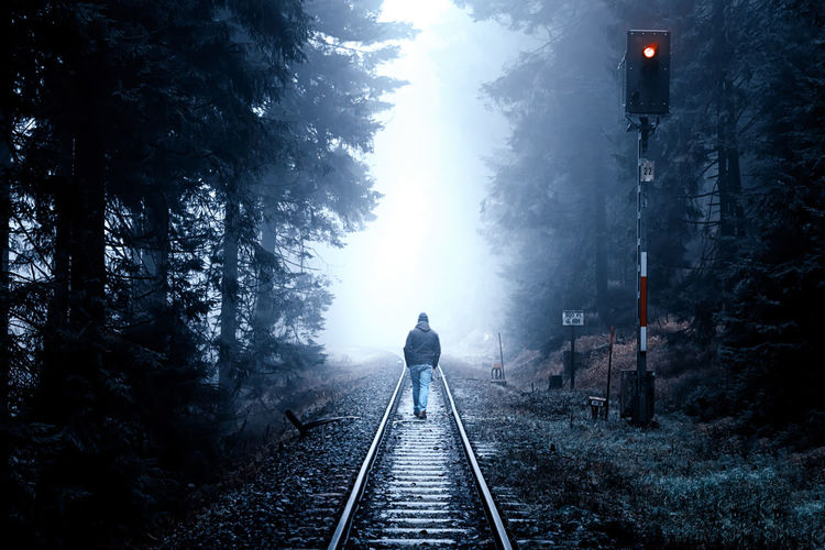 Walking... Railroad Track Track Rail Transportation The Way Forward Direction Fog Rear View One Person Transportation Real People Lifestyles Tree Walking Plant Nature Full Length Leisure Activity Mode Of Transportation Travel Diminishing Perspective Outdoors Harz Foggy Foggy Morning