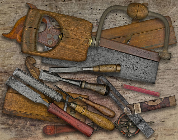 vintage woodworking tools on a bench Antique Tools Bench Chisel Directly Above Drill Hand Tool Large Group Of Objects No People Pencil Plane Saw Table Variation Vintage Tools Woodworking Workshop