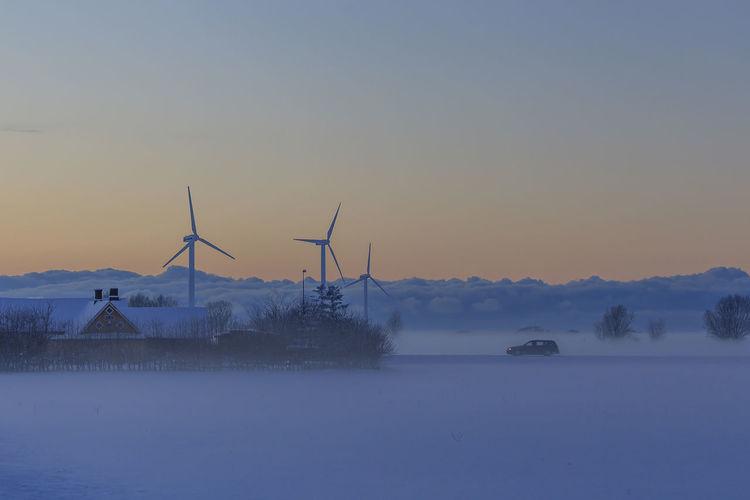 Orange Sky Sweden Wind Turbine Winter Blue Car House Scania Snow Snowcapped Mountain Sunset Wind