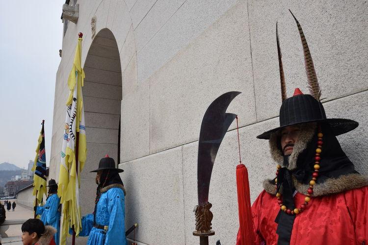 Ancient Wepon Cultures EyeEm Best Shots Flag Flags Guards Korea Men Real People Seoul South Korea Standing Wall