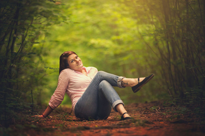 Color Portrait Colors Nature Portrait Of A Woman Vivid Beautiful Woman Colorful Fantasy Female Forest Leisure Activity Lifestyles Model Model Pose Modeling One Person Outdoors Portrait Portrait Photography Real People Relaxation Sitting Smiling Women Young Women