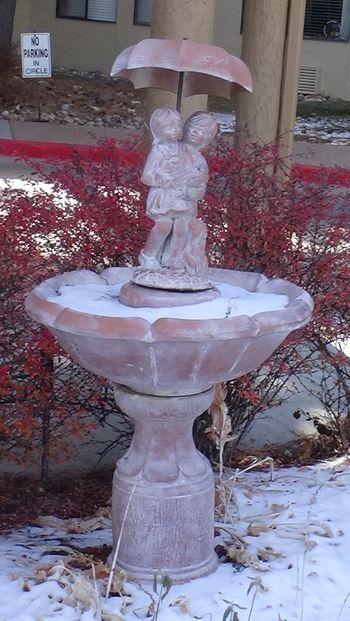 Fountain Of Two Kids Under Umbrella Statue Sculpture Fountain Winter No People Outdoors Day Colorado Springs Colorado Colorado Photography Coloradophotographer