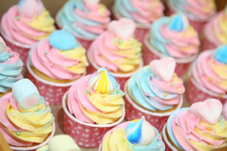Full frame shot of multi colored cupcakes